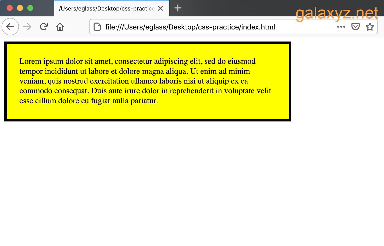 Trang web có `<div> ', đệm và viền màu vàng