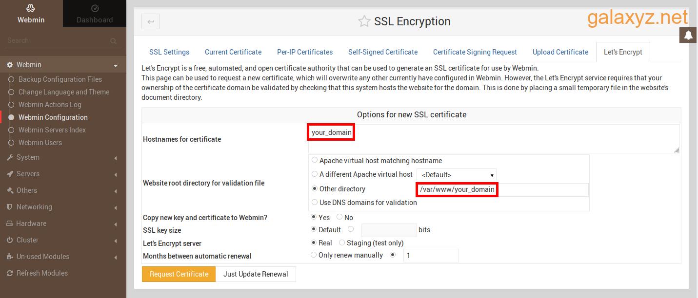 Hình ảnh hiển thị tab Let's Encrypt của phần Mã hóa SSL
