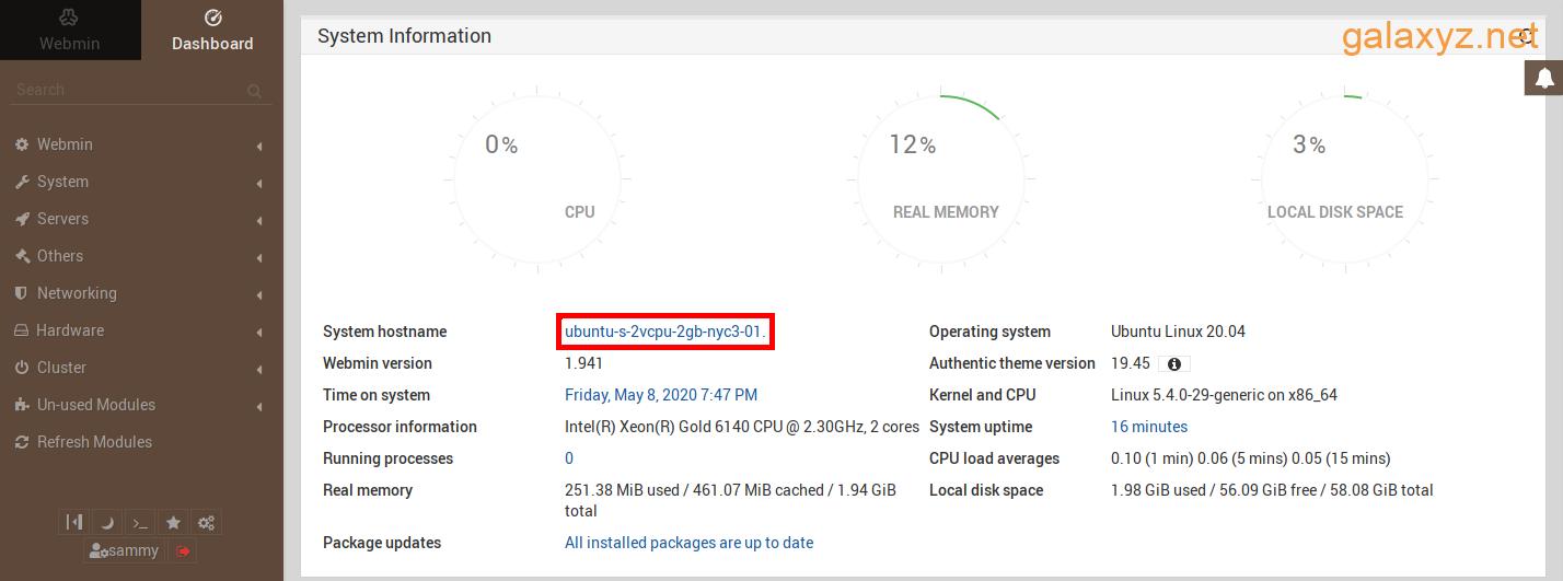Hình ảnh hiển thị vị trí của liên kết trên trang tổng quan Webmin