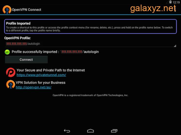 Ứng dụng OpenVPN Android đã sẵn sàng kết nối với VPN